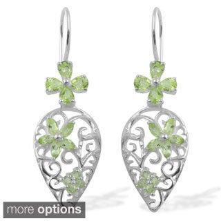 Sitara Hand-crafted Sterling Silver Gemstone Teardrop Dangle Earrings (India)