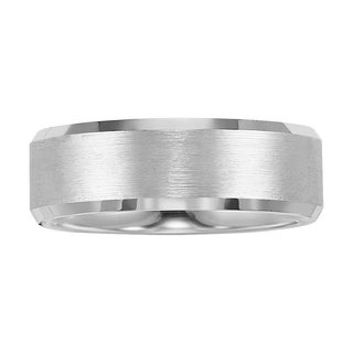 Cambridge White Tungsten Carbide Beveled Edge 8mm Comfort-fit Wedding Band