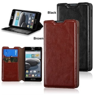 INSTEN Wallet Leather with Card Slot stand Phone Case Cover for LG Optimus F6 D500 / MS500