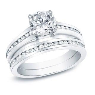 Auriya 14k Gold 1 1/2ct TDW Certified Diamond Bridal Ring Set (H-I, SI1-SI2)