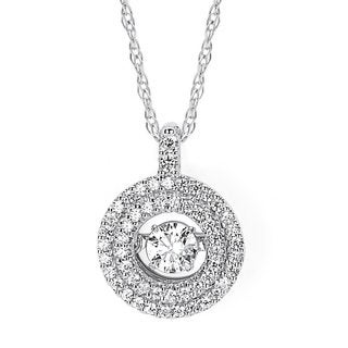 Brilliance in Motion 14k White Hold 3/8ct TDW Floating Diamond Double Circle Necklace (I-J, I1-I2)