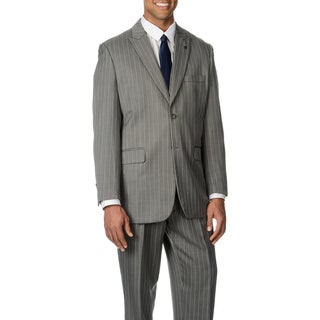 Stacy Adams Men's Grey Stripe 3-piece Vested Suit