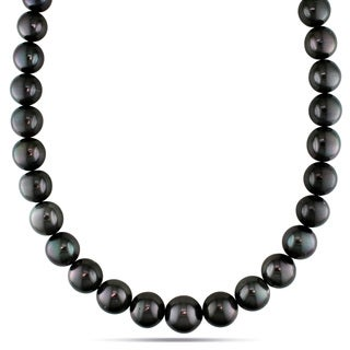 Miadora Signature Collection 14k White Gold Tahitian Pearl and Diamond Accent Necklace (13-14 mm)