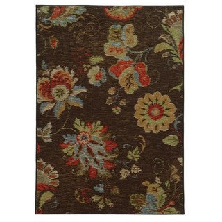 Loop Pile Ikat Floral Brown/ Multi Nylon Rug (3'3 x 5'5)