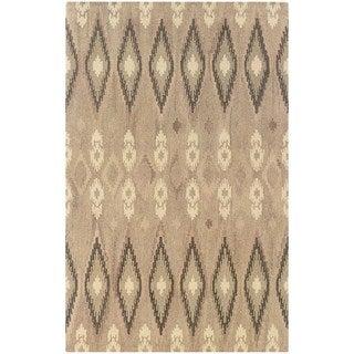 Ikat Pattern Hand-made Beige/ Ivory Rug