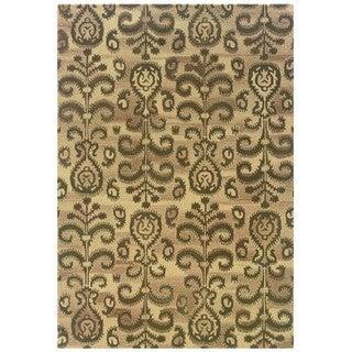 Ikat Floral Hand-made Beige/ Brown Rug (5' x 8')
