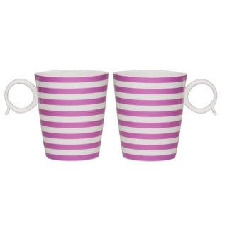 Red Vanilla Freshness Mix & Match Violet Lines 12-ounce Mugs (Set of 2)