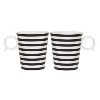 Red Vanilla Freshness Mix & Match Black Lines 12-ounce Mugs (Set of 2)