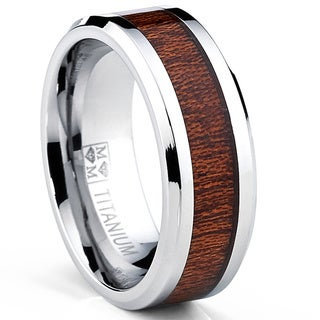 Oliveti Men's Titanium Real Wood Inlay Flat Top Band Comfort-fit Ring (8 mm)