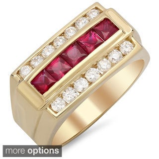 14k Gold Men's 3/4ct TDW White Diamond and Channel-set Ruby Ring (F-G, SI1-SI2)