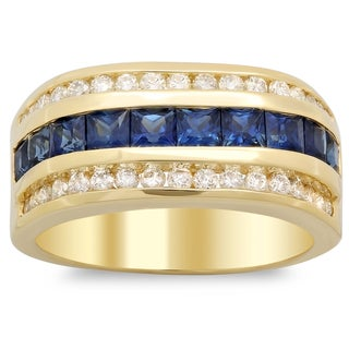 14k Yellow Gold Men's 1ct TDW White Diamond and Channel-set Sapphire Ring (F-G, SI1-SI2)