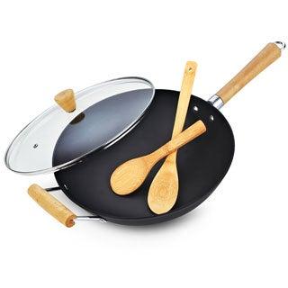 Cook N Home 13-inch Pre-seasoned Lightweight Cast Iron Wok