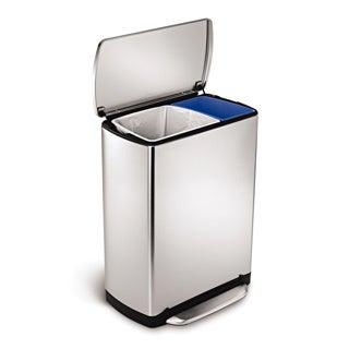 simplehuman 46-liter Wide-step Rectangular Recycler Step Can