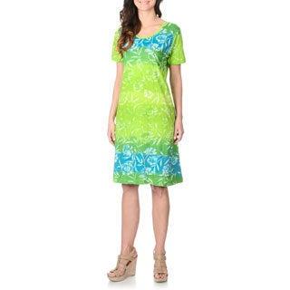 La Cera Women's Large Floral Pattern Cotton Dress