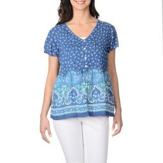 La Cera Women's Floral Puckered Button-up Top