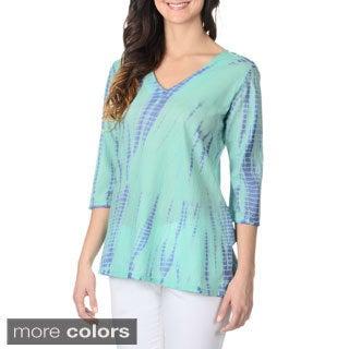 La Cera Women's Tie-dye 3/4-sleeve Tee