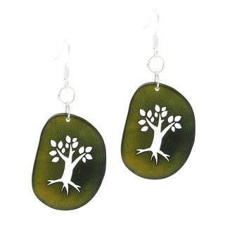 Nature's Silhouette Green Tree Tagua Dangle Earrings (Colombia)