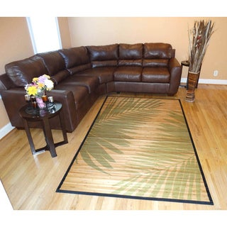 Hand-woven Palm Leaves Bamboo Rug (6'x9')