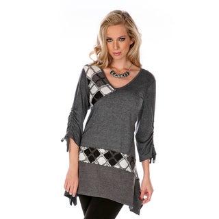Women's Grey Patchwork Argyle Sweater