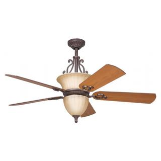 Transitional Carre Bronze Ceiling Fan and Light Kit