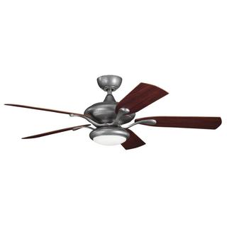 Contemporary/Transitional Weathered Steel Ceiling Fan and Light Kit