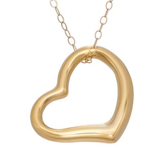 Gioelli 14k Yellow Gold 18 mm Open Heart Pendant Necklace