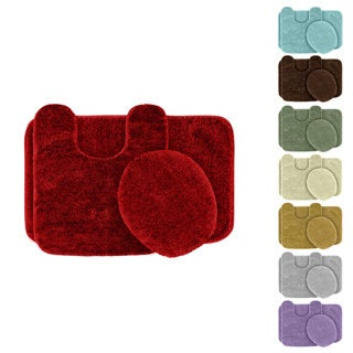 Somette Plush Deluxe Washable 3-piece Bath Rug Set