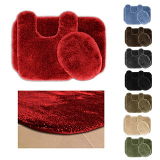 Somette Posh Plush Washable 3-piece Bath Rug Set