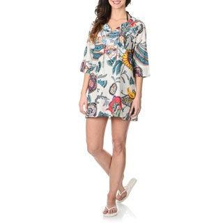 La Cera Women's White Floral Tunic Swim Cover-up