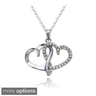 DB Designs Sterling Silver 1/4ct TDW Double Open Heart Necklace (I-J, I2-I3)
