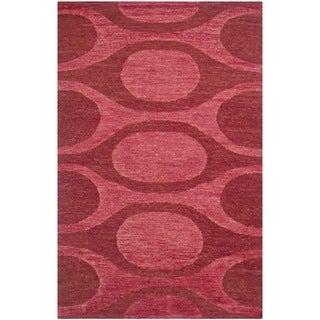 Safavieh Hand-knotted Santa Fe Raspberry/ Red Wool Rug (9' x 12')