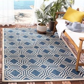 Safavieh Indoor/ Outdoor Moroccan Courtyard Navy/ Beige Rug (9' x 12')