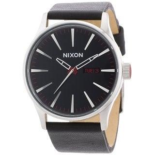 Nixon Men's Sentry Black Stainless Steel Leather Watch