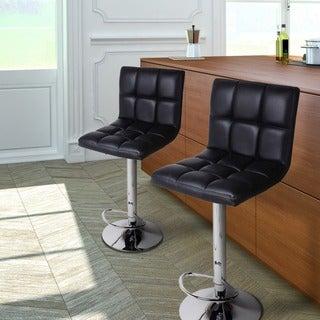 Adeco Black/Chrome Finish Adjustable Barstool Chair Set