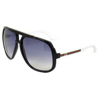 Gucci Unisex 'GG 1622/S OVF' Black/ White Aviator Sunglasses