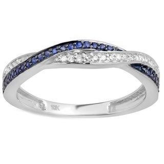10k White Gold 1/4ct TDW White Diamond and Blue Sapphire Swirl Wedding Ring (I-J, I2-I3)