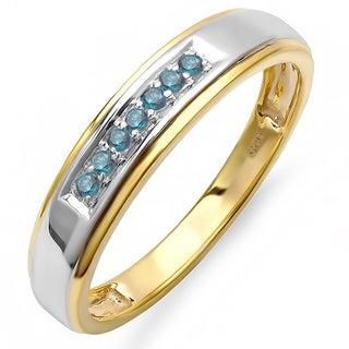 18k Goldplated Sterling Silver 1/5ct TDW Blue Diamond Men's Wedding Band (I2-I3)
