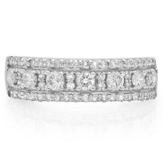 14k White Gold 3/4ct TDW Diamond Anniversary Wedding Band Ring