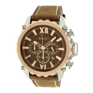 Roberto Bianci Men's Sports Chronograph Watch with Brown Dial and Brown Leather Band