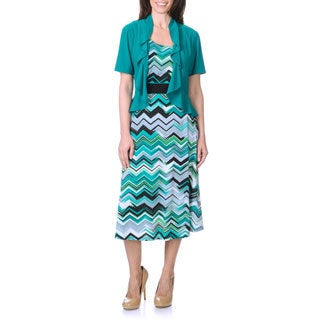 R & M Richards Women's Jade/ Black Chevron Print Jacket and Dress Set