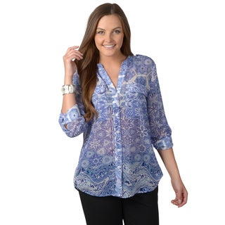 Journee Collection Women's Roll Sleeve Button-up Chiffon Top