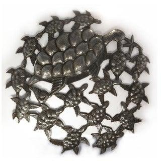 Handcrafted Recycled Steel Oil Drum School of Turtles Wall Art (Haiti)