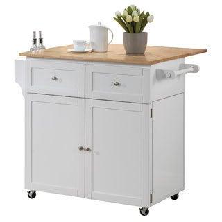 White Kitchen Storage Cart and Leaf