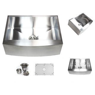 Farmhouse 36-inch Stainless Steel Single Bowl Curve Apron Kitchen Sink with Accessories