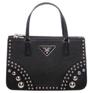 Prada Black Saffiano Leather Studded Mini Tote