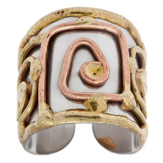 Handmade Mixed Metal Tri-tone Square Spiral Ring (India)
