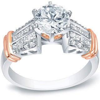 Auriya 14k Two-tone Gold 1 3/5ct TDW Certified Diamond Engagement Ring (H-I, SI1-SI2)