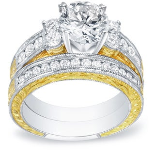 Auriya 14k Two-tone Gold 2ct TDW Certified Diamond Bridal Ring Set (H-I, SI1-SI2)