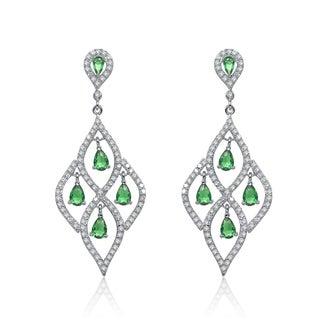 Collette Z Sterling Silver Green Cubic Zirconia Dangling Earrings