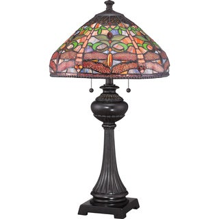 Tiffany Pink Dragonfly with Imperial Bronze Finish Table Lamp